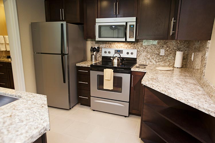 fully equipped kitchen with granite counter tops and full granite backsplash, The Berkley, Las Vegas