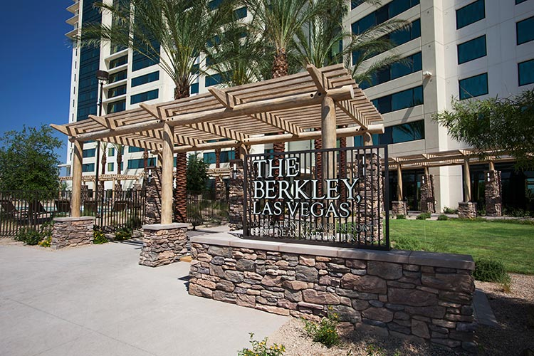 main entrance of resort with resort logo sign, The Berkley, Las Vegas