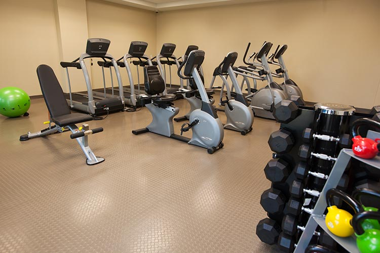 fitness center with cardio equipment and weights, The Berkley, Las Vegas