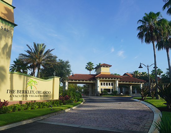 front resort entrance with logo signage, The Berkley, Orlando