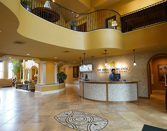 front desk at registration buildings with 2 resort employees, The Berkley, Orlando