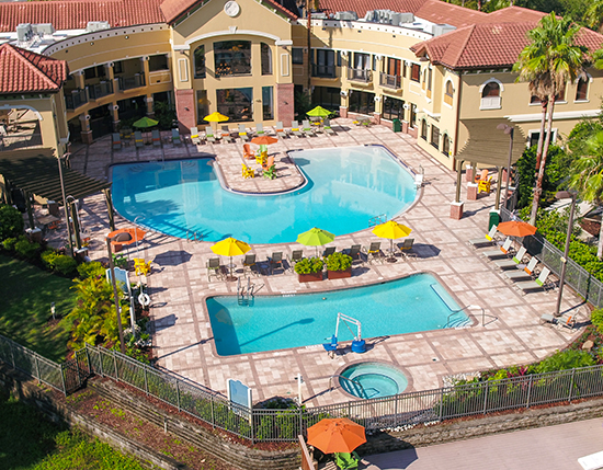 aerial shot of outdoor swimming pool, lap pool and hot tub, The Berkley, Orlando
