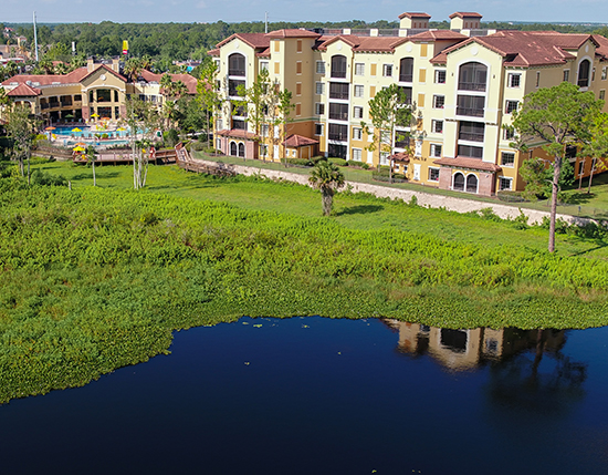 aerial shot of resort condos and back lake, The Berkley, Orlando