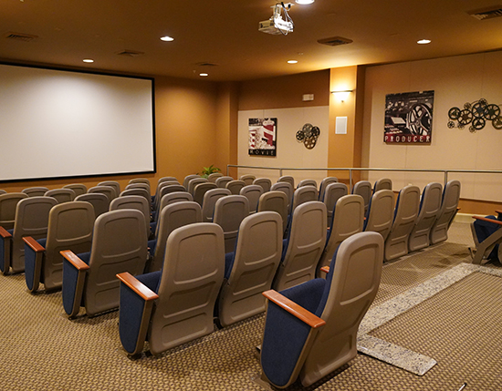 private movie theater inside grand clubhouse , The Berkley, Orlando