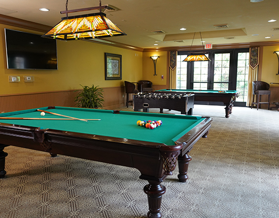 guest billiards room inside the grand clubhouse, The Berkley, Orlando