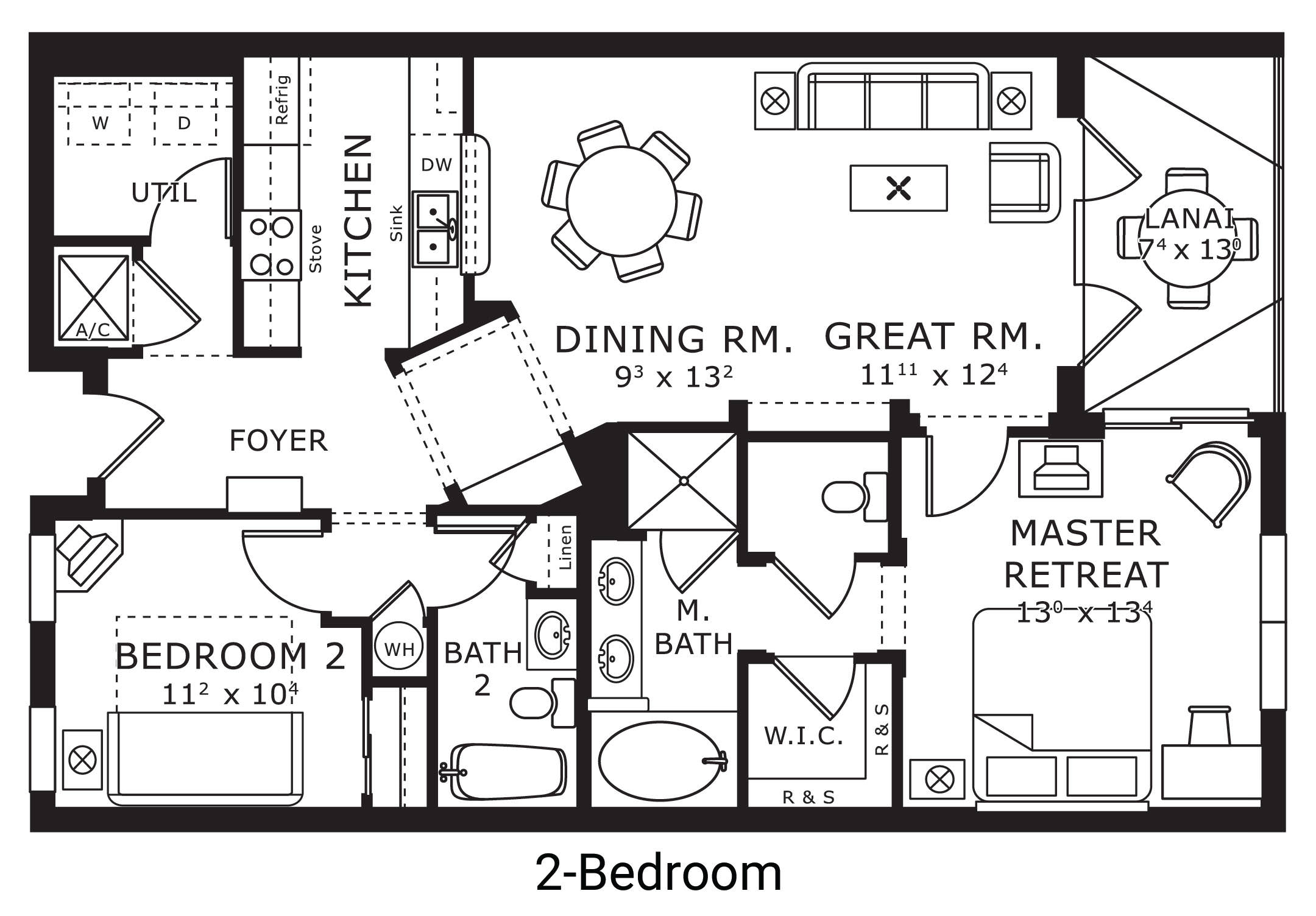 floor plan map for two bedroom, The Berkley, Orlando