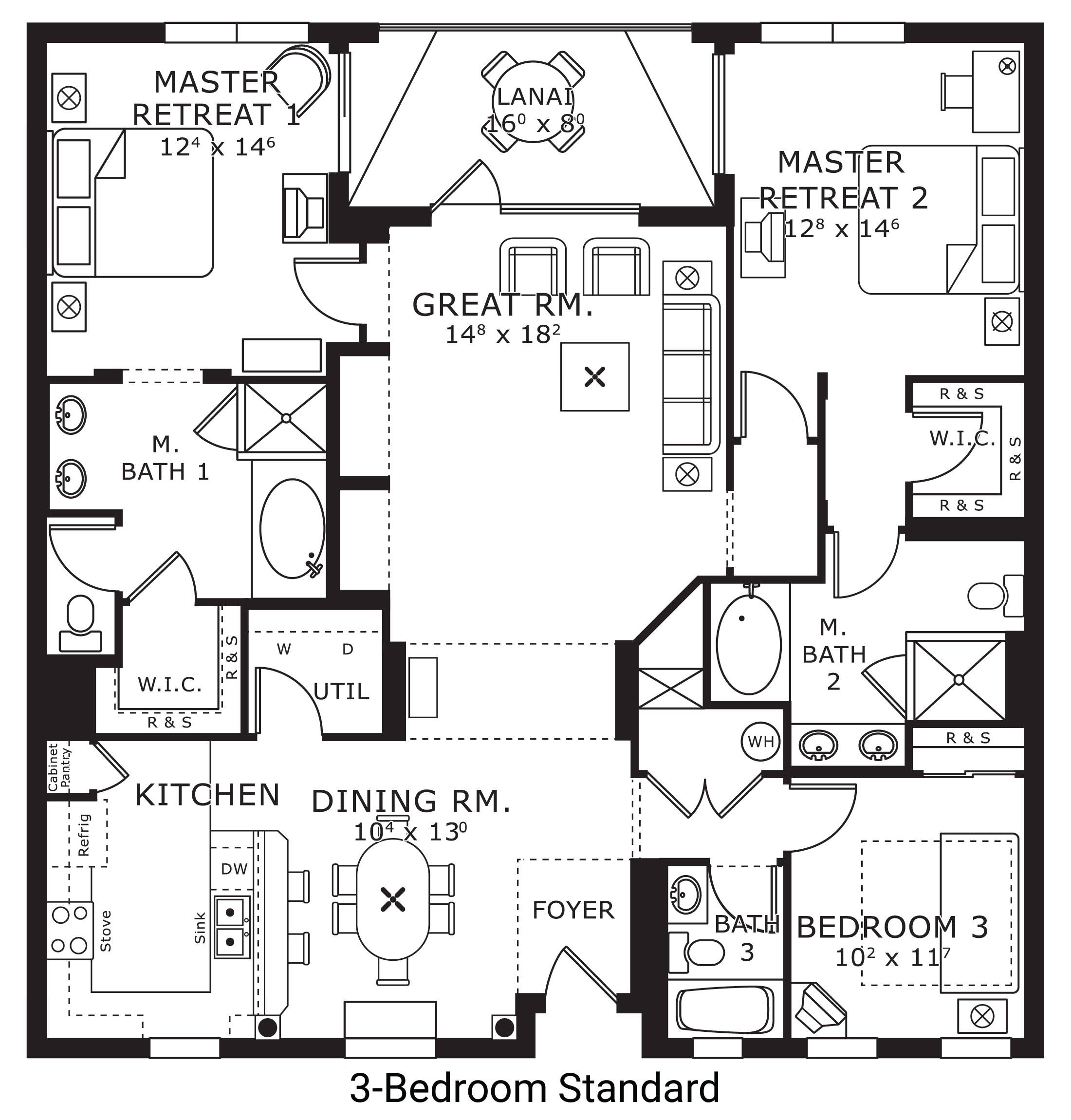 floor plan map for three bedroom standard, The Berkley, Orlando