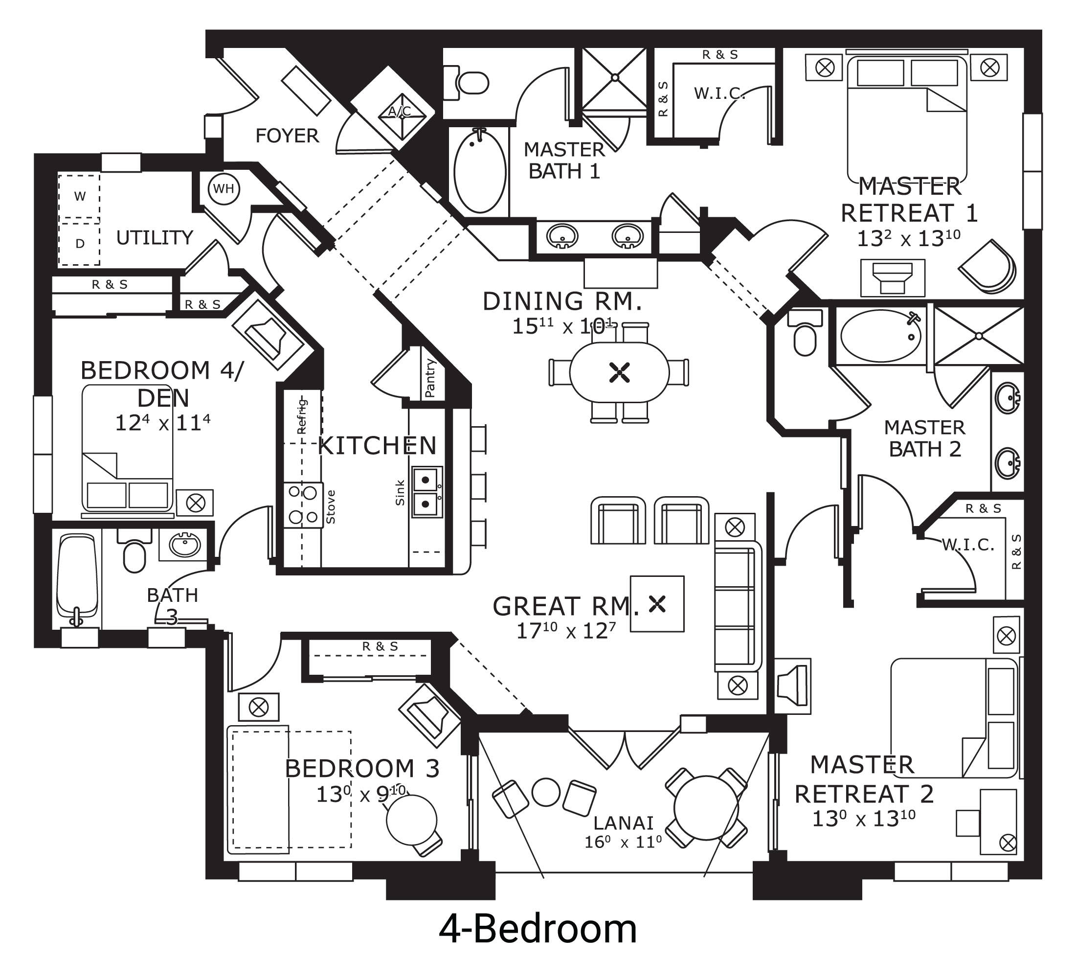 floor plan map for four bedroom, The Berkley, Orlando