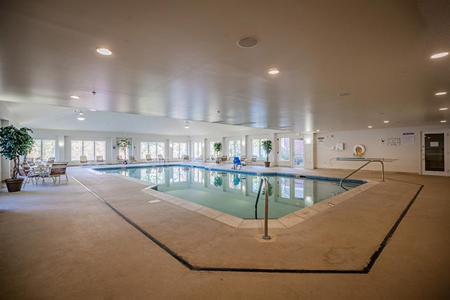 side view of indoor pool area, Berkshire Mountain Lodge