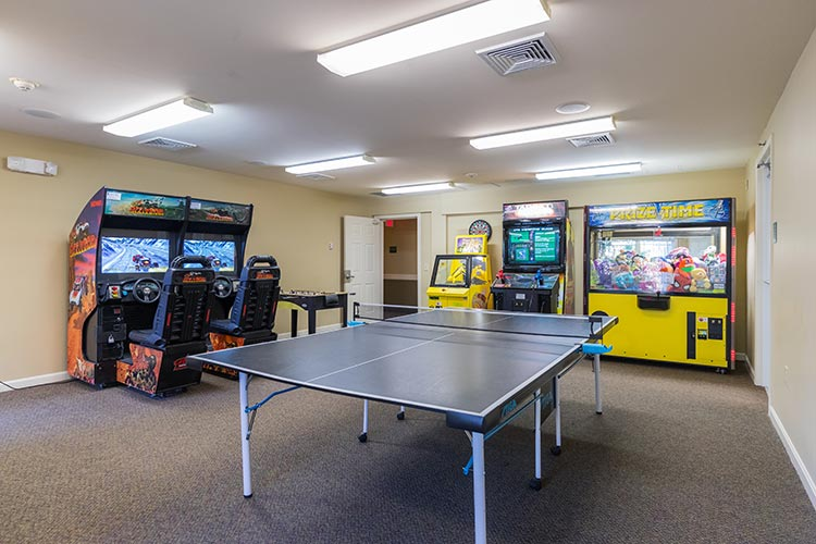 arcade and game room with pink pong table, Berkshire Mountain Lodge