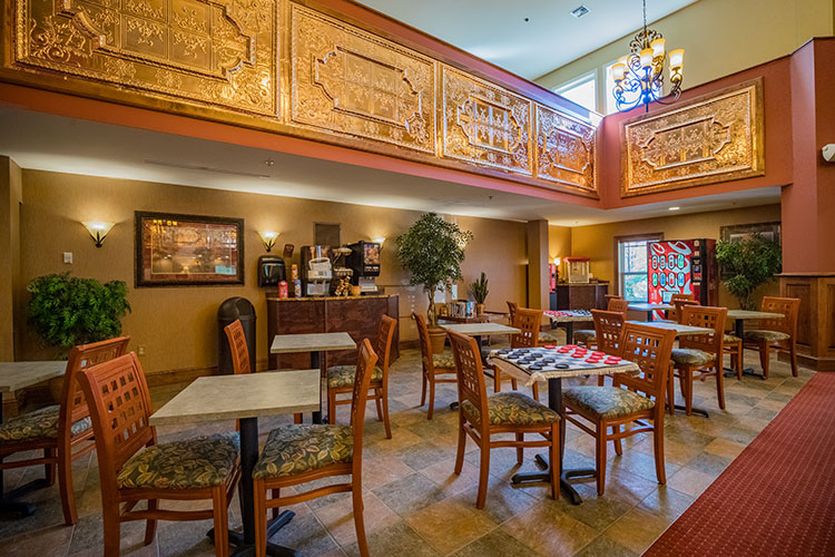 guest reception and lobby area with coffee and juice available, Berkshire Mountain Lodge