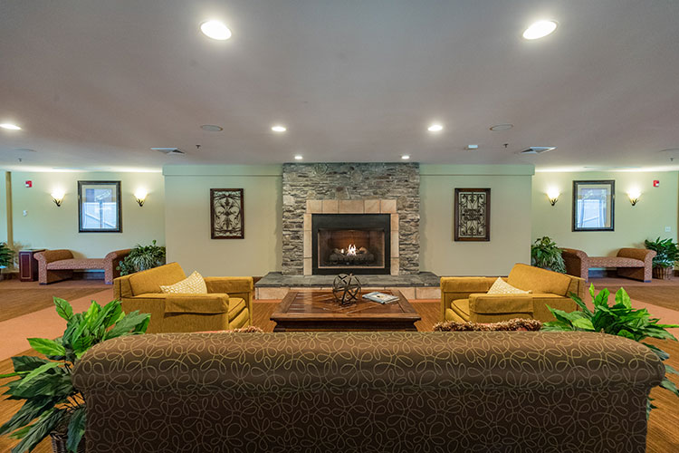 lobby area with fire place, Berkshire Mountain Lodge