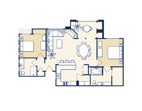 floor plan map for two bedroom suite, The Cliffs at Peace Canyon