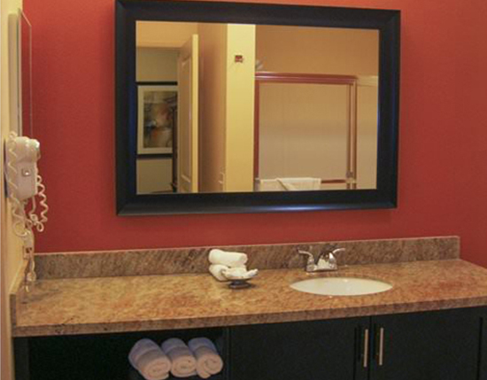guest suite master bathroom with vanity and mirror, The Cliffs at Peace Canyon
