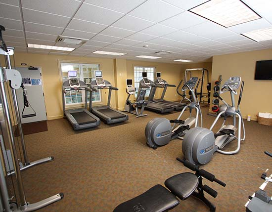 fitness center with cardio equipment at main clubhouse, The Colonies at Williamsburg