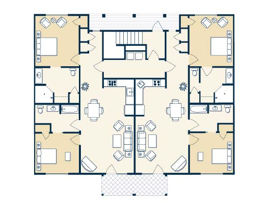 floor plan map for four bedroom suite, The Colonies at Williamsburg