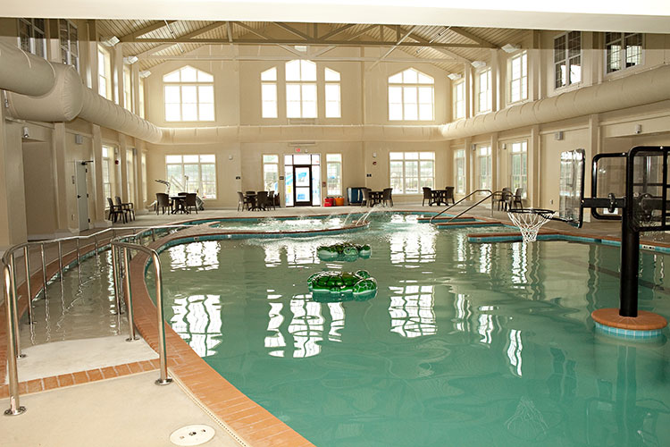 indoor heated pool with basketball net, The Colonies at Williamsburg