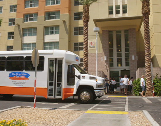 shuttle bus in front of resort entrance, The Grandview at Las Vegas
