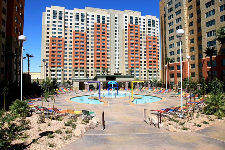 pool area with resort high rise building behind, The Grandview at Las Vegas
