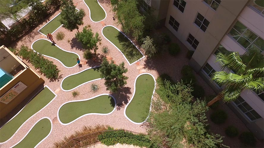 aerial view of 9 hole putt golf course, The Grandview at Las Vegas