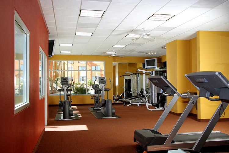 fitness center with cardio equipment behind Sage building, The Grandview at Las Vegas