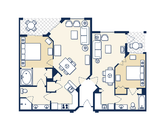 floor plan map for Suites A and B, Mizner Place at Weston Town Center