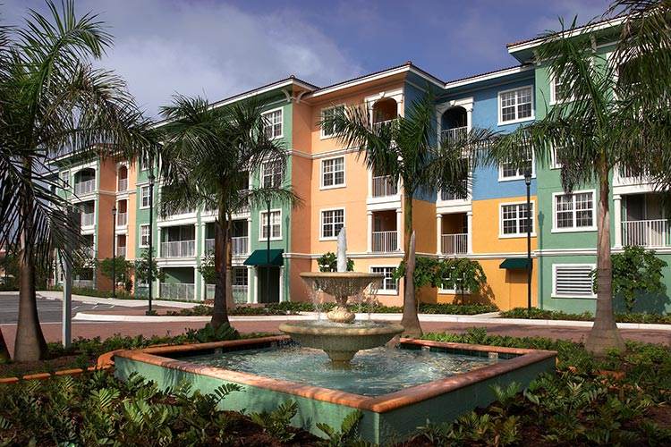 outside view of resort featuring a water fountain, Mizner Place at Weston Town Center