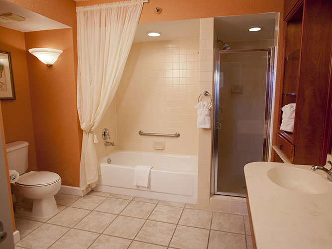guest master bathroom with separate shower and bath tub, Palm Beach Shores Resort and Vacation Villas