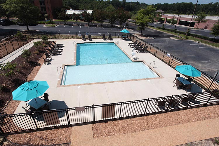 aerial view of swimming pool area, Patriots Inn