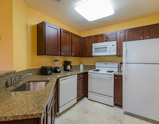 A Suite guest full kitchen with granite counter tops, Vacation Village in the Berkshires