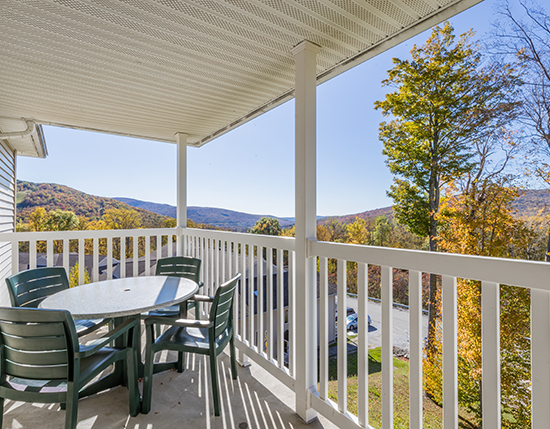 A Suite guest balcony with view of mountains, Vacation Village in the Berkshires