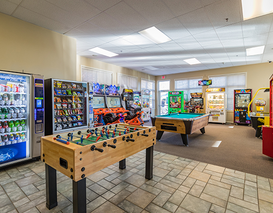 arcade room with vending machines, Vacation Village in the Berkshires