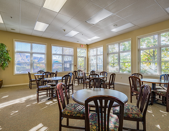 meeting room with tables and chairs, Vacation Village in the Berkshires
