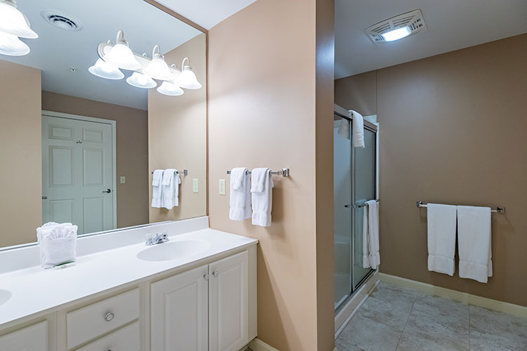 guest suite bathroom with separate walk in shower, Vacation Village in the Berkshires