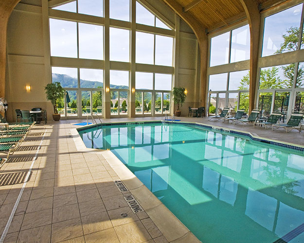 indoor swimming pool with mountain view, Vacation Village in the Berkshires