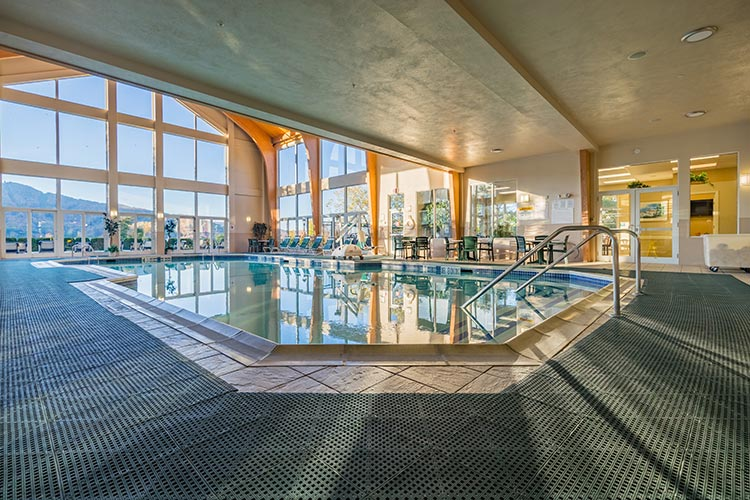indoor pool area with mountain view, Vacation Village in the Berkshires