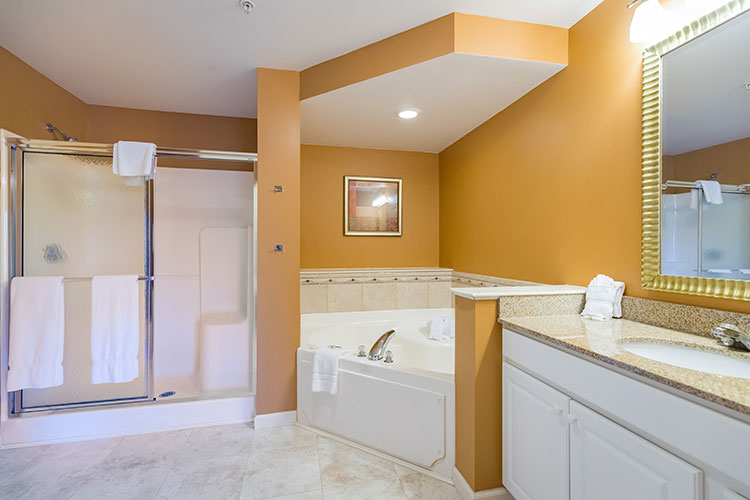 guest suite master bathroom with separate jetted tub and walk in shower, Vacation Village in the Berkshires