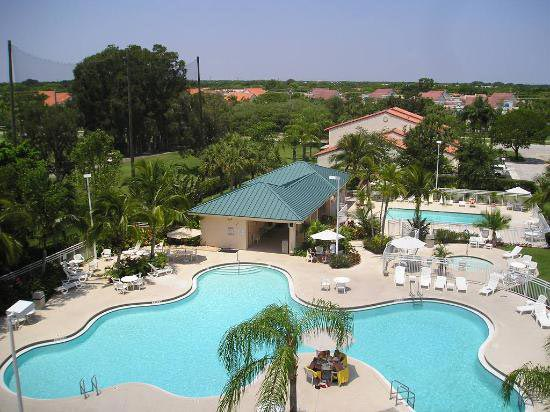drone shot of swimming pool, Vacation Village at Bonaventure