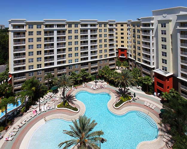 aerial shot of swimming pool and condos by buildings 15 through 17, Vacation Village at Parkway