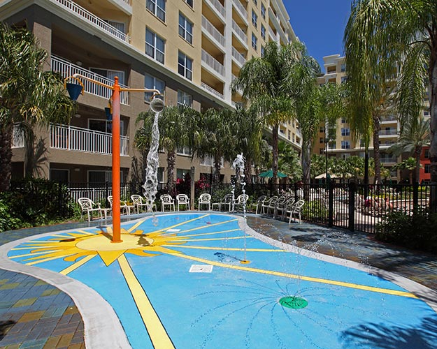 Children's splash play area at Building 6 and 7, Vacation Village at Parkway.