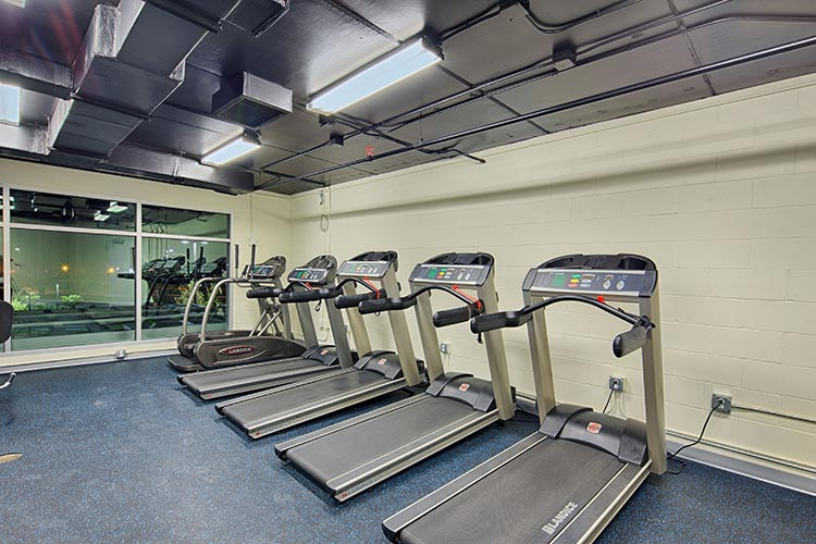 Fitness center with treadmills at building 21, Vacation Village at Parkway.