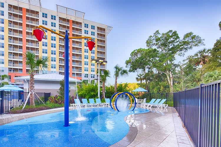 new splash play area at Building 21, Vacation Village at Parkway