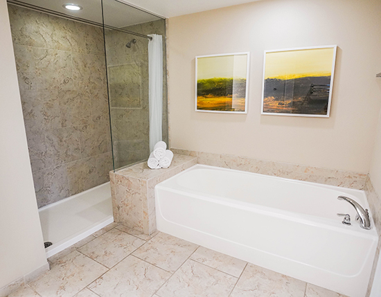 standard bath tub with separate walk-in shower in C Suite, Vacation Village at Parkway