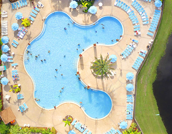 drone view of pool at building 21, Vacation Village at Parkway