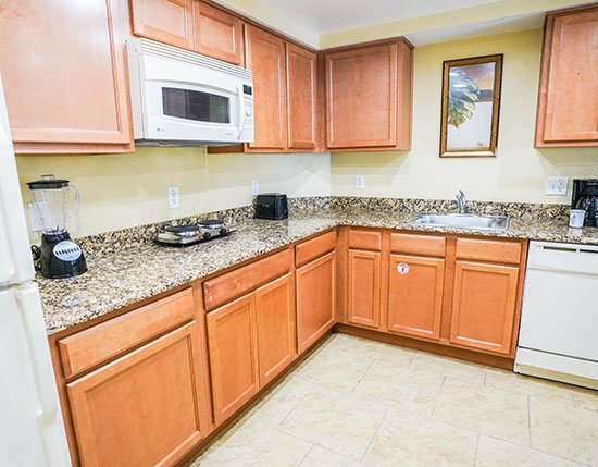 guest suite partial kitchen with hot plate in B Suite, Vacation Village at Parkway