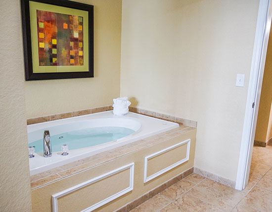 jetted tub in master bedroom in C Suite, Vacation Village at Parkway