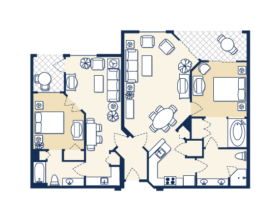 floor plan map for A and B Suites, Vacation Village at Parkway