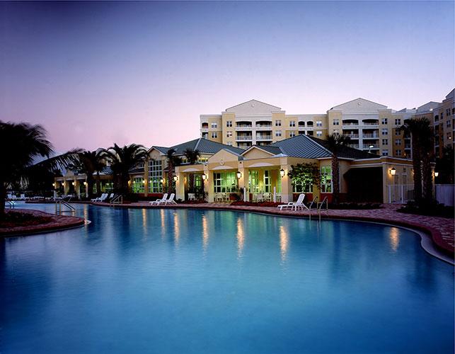 pool area at night, Vacation Village at Weston