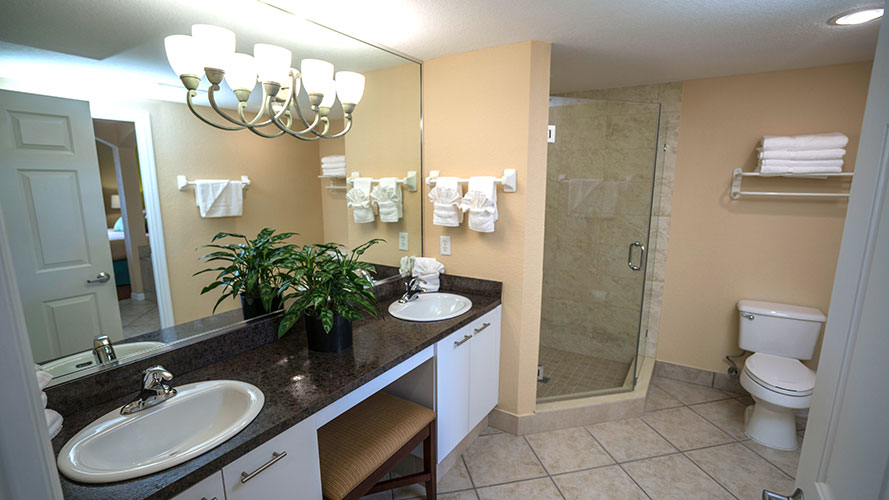 A Suite bathroom with walk in shower, Vacation Village at Weston