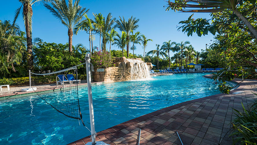 swimming pool area with volley ball net, Vacation Village at Weston